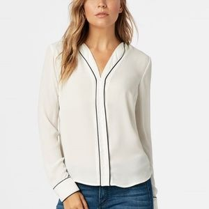 JustFab Piped Y-Neck Blouse